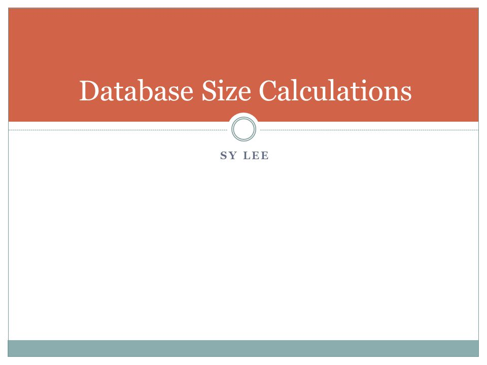 SY LEE Database Size Calculations