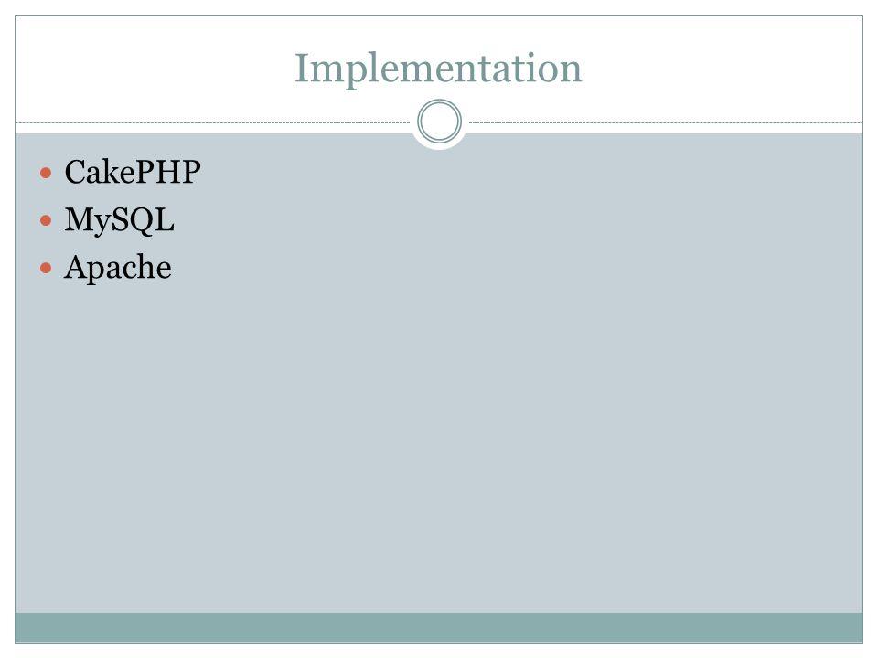 Implementation CakePHP MySQL Apache