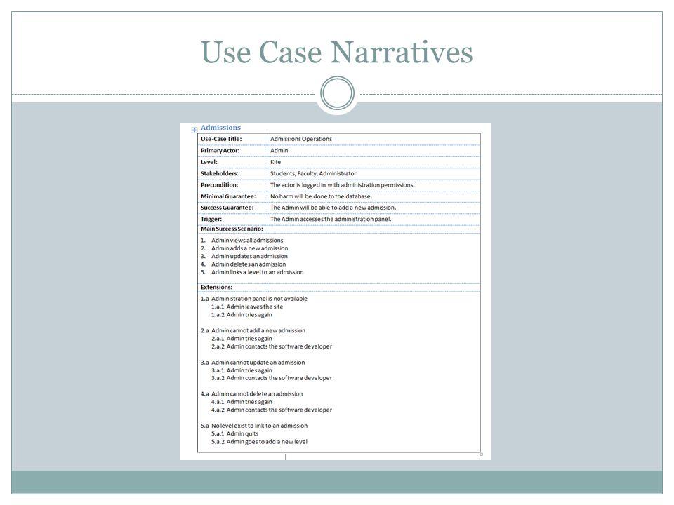 Use Case Narratives