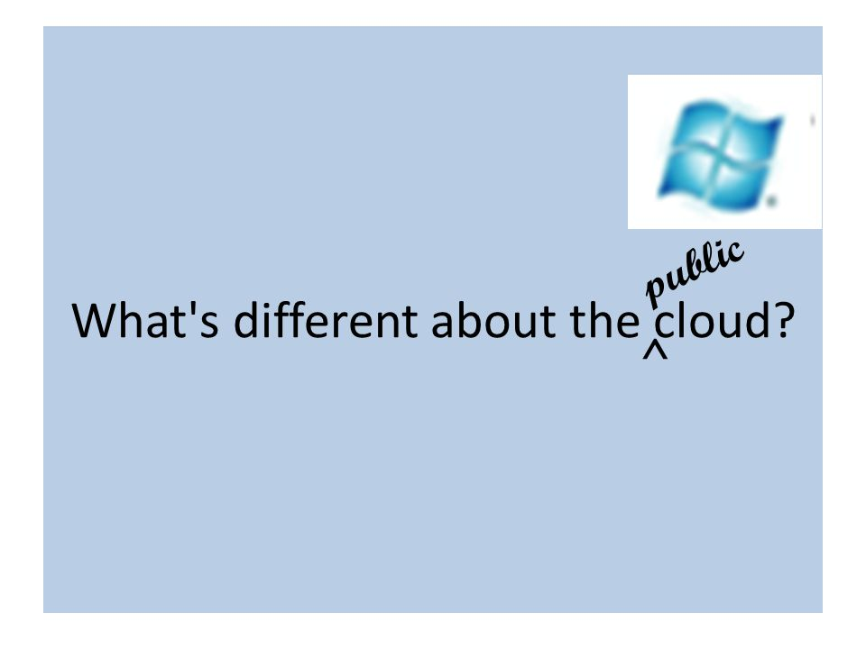 What is different about the cloud? What s different about the cloud? ^ public