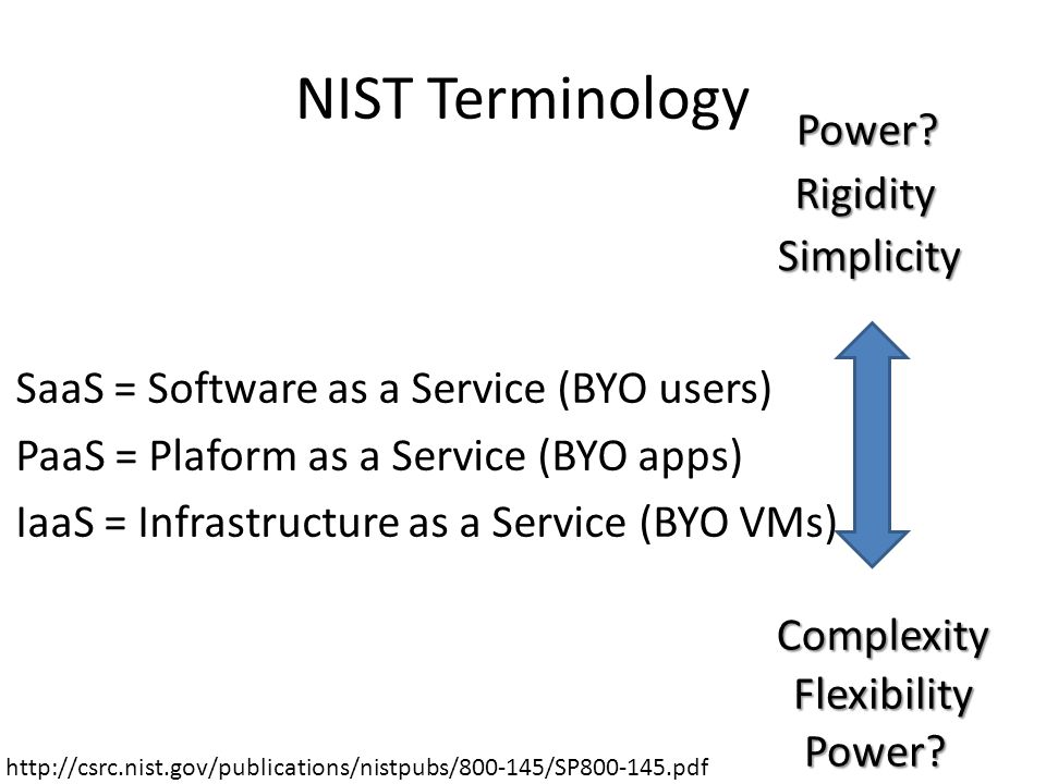 NIST Terminology SaaS = Software as a Service (BYO users) PaaS = Plaform as a Service (BYO apps) IaaS = Infrastructure as a Service (BYO VMs) Simplicity Complexity Flexibility Rigidity Power.