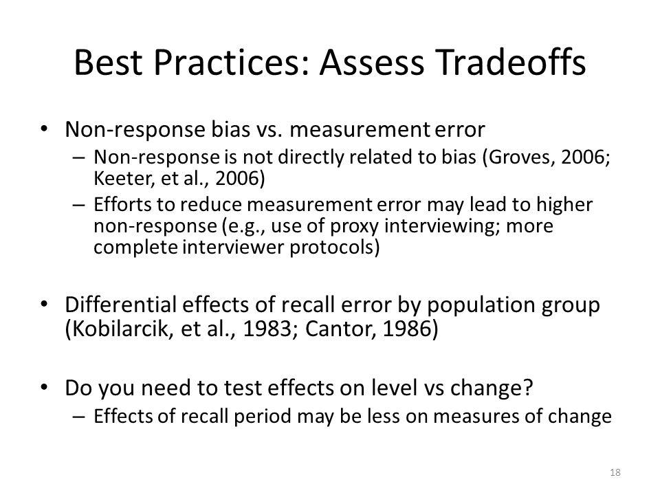 Best Practices: Assess Tradeoffs Non-response bias vs.