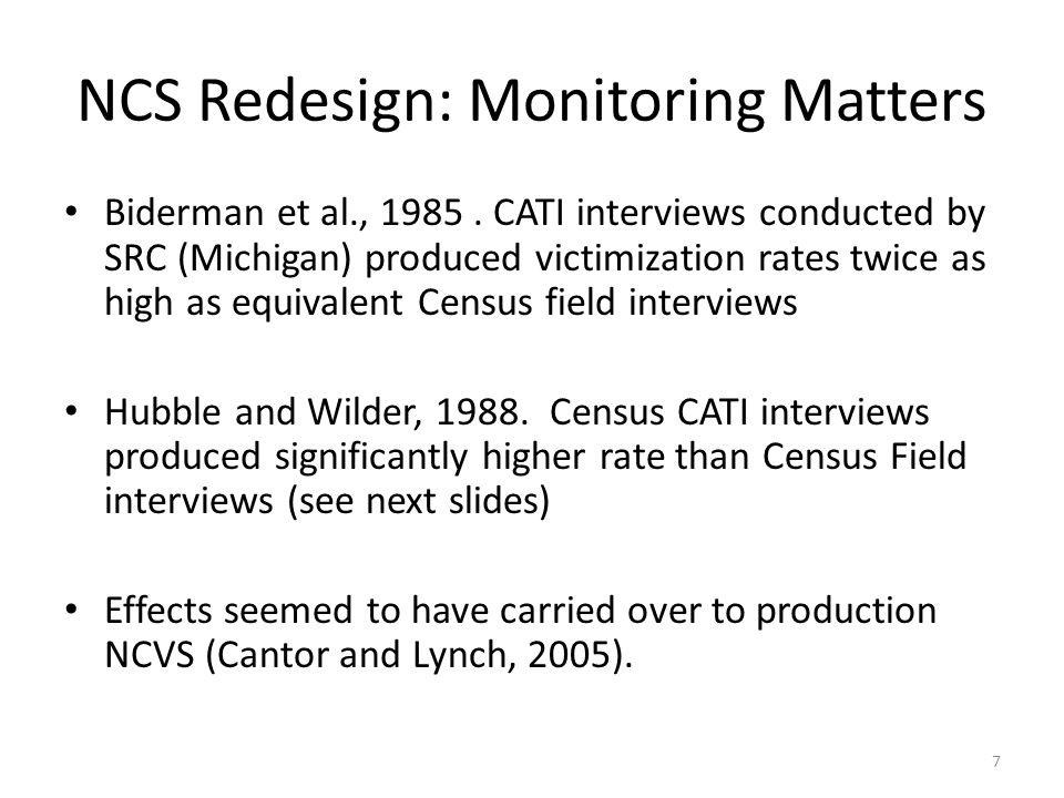 NCS Redesign: Monitoring Matters Biderman et al., 1985.