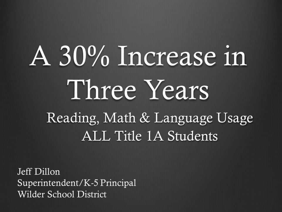 A 30% Increase in Three Years Reading, Math & Language Usage ALL Title 1A Students Jeff Dillon Superintendent/K-5 Principal Wilder School District