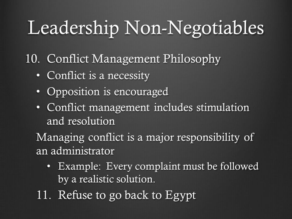 Leadership Non-Negotiables 10.