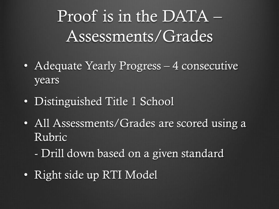Proof is in the DATA – Assessments/Grades Adequate Yearly Progress – 4 consecutive years Adequate Yearly Progress – 4 consecutive years Distinguished
