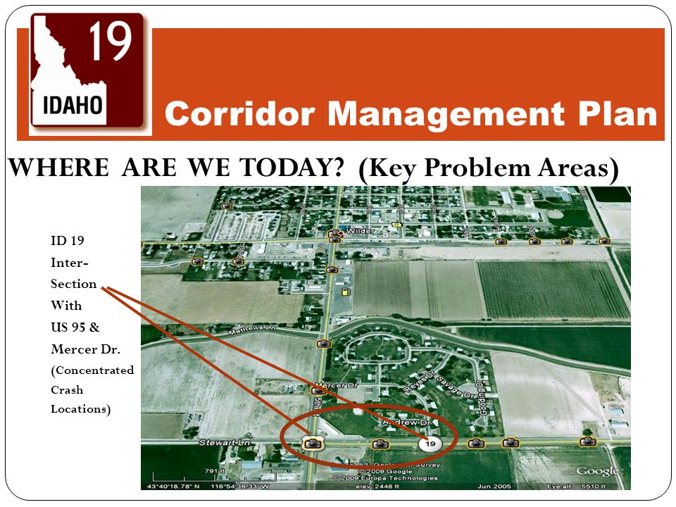 WHERE ARE WE TODAY.(Key Problem Areas) ID 19 Inter- Section With US 95 & Mercer Dr.