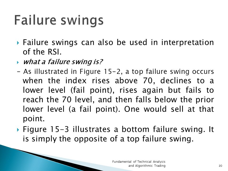  Failure swings can also be used in interpretation of the RSI.