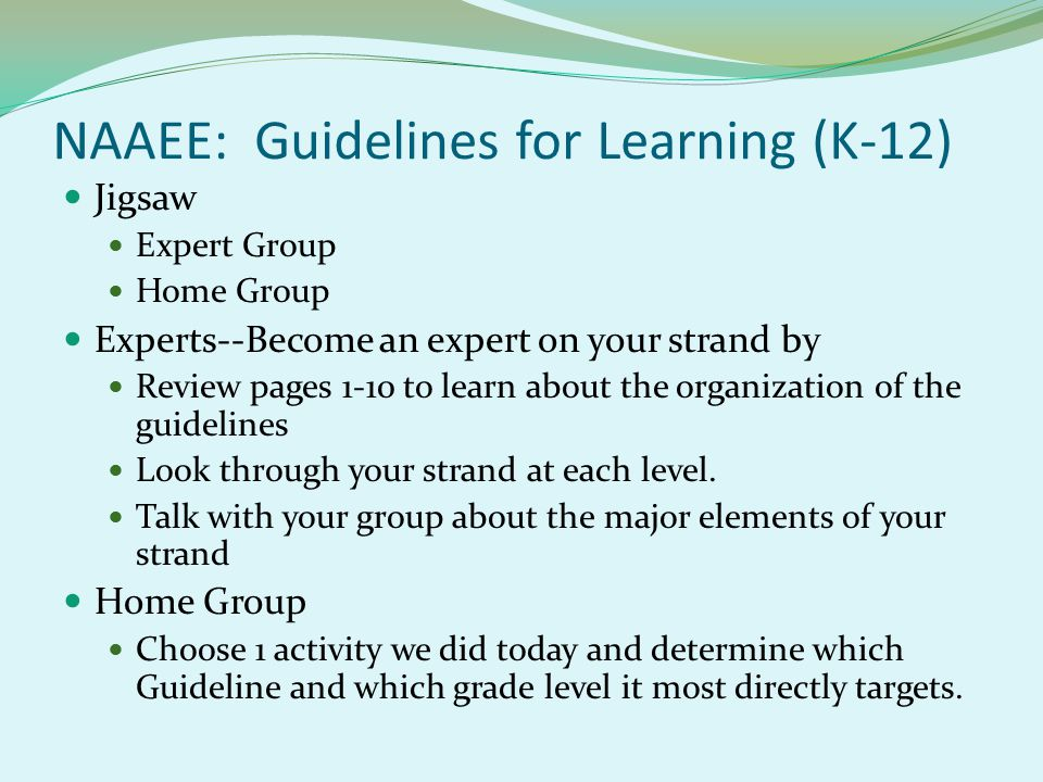 NAAEE: Guidelines for Learning (K-12) Jigsaw Expert Group Home Group Experts--Become an expert on your strand by Review pages 1-10 to learn about the organization of the guidelines Look through your strand at each level.