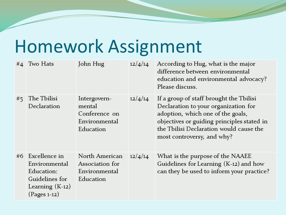 Homework Assignment #4Two HatsJohn Hug12/4/14According to Hug, what is the major difference between environmental education and environmental advocacy.