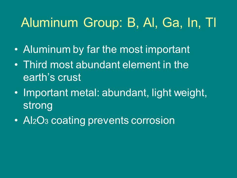 Aluminum Group: B, Al, Ga, In, Tl Aluminum by far the most important Third most abundant element in the earth's crust Important metal: abundant, light