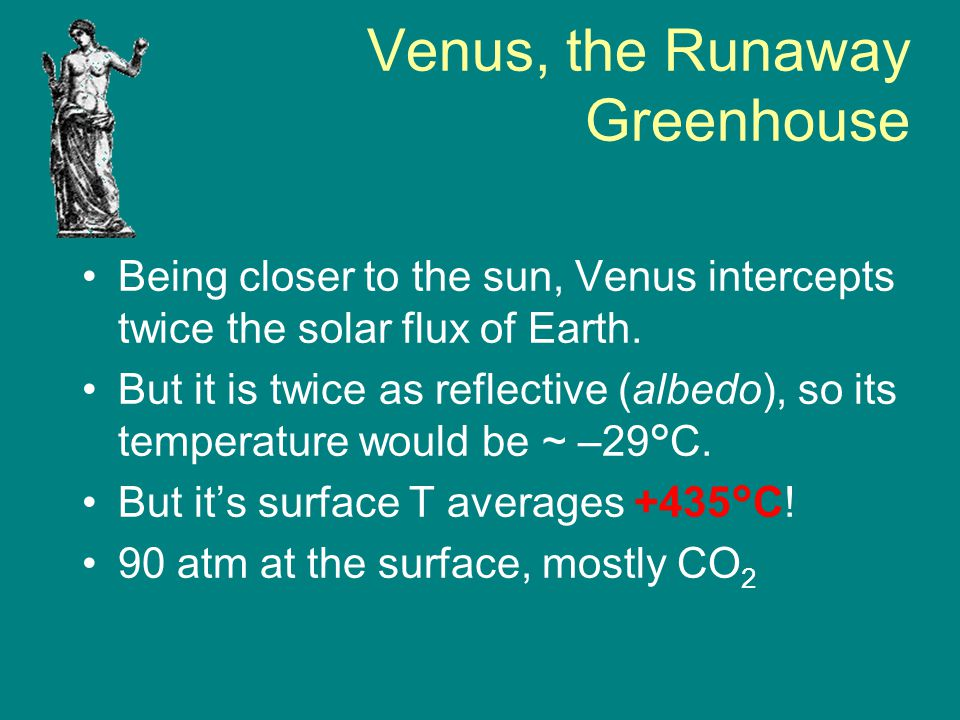 Venus, the Runaway Greenhouse Being closer to the sun, Venus intercepts twice the solar flux of Earth. But it is twice as reflective (albedo), so its