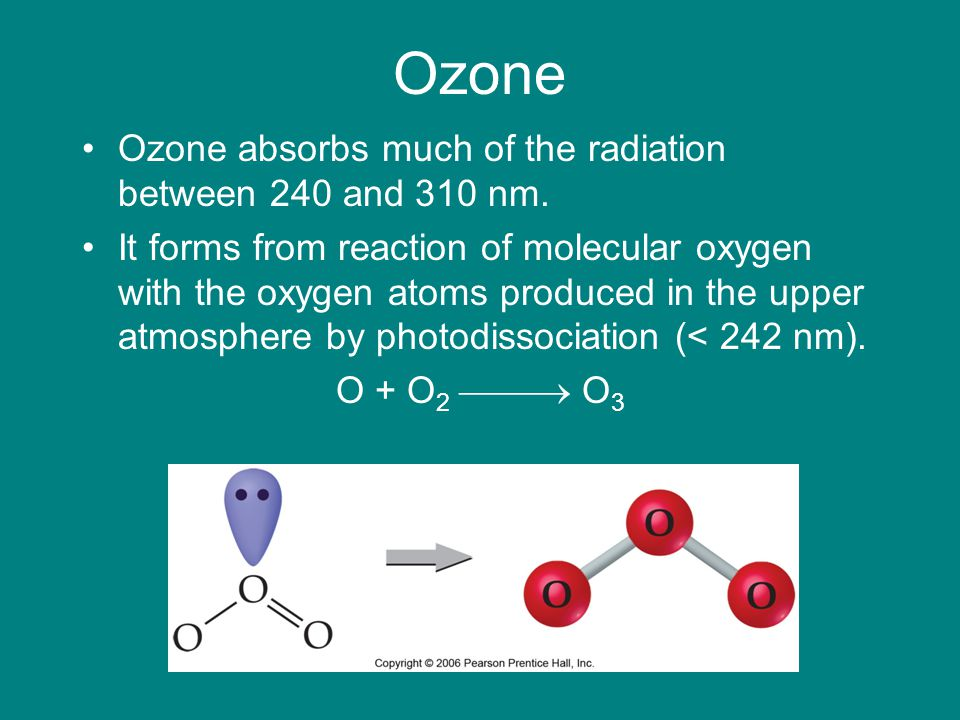 Ozone Ozone absorbs much of the radiation between 240 and 310 nm.