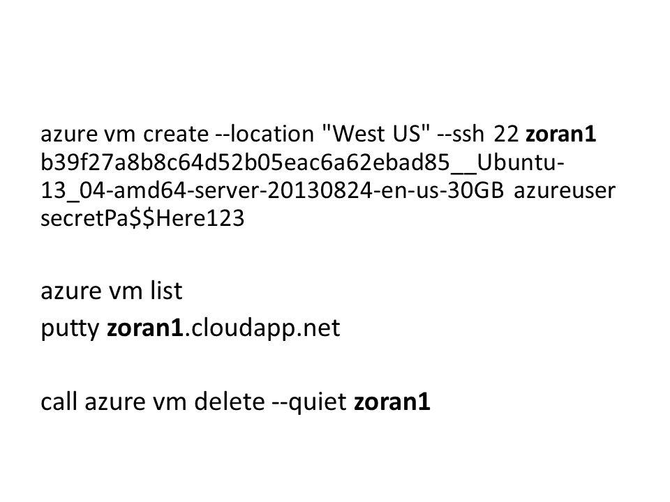 azure vm create --location