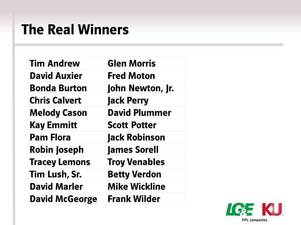 The Real Winners Tim AndrewGlen Morris David AuxierFred Moton Bonda BurtonJohn Newton, Jr.