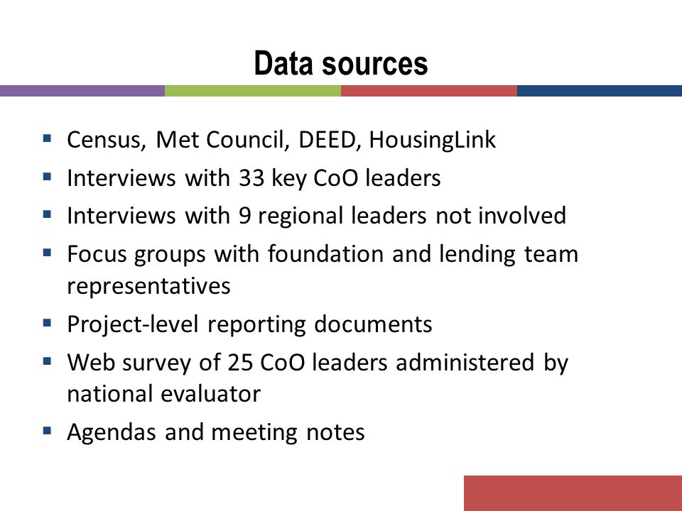  Census, Met Council, DEED, HousingLink  Interviews with 33 key CoO leaders  Interviews with 9 regional leaders not involved  Focus groups with fo