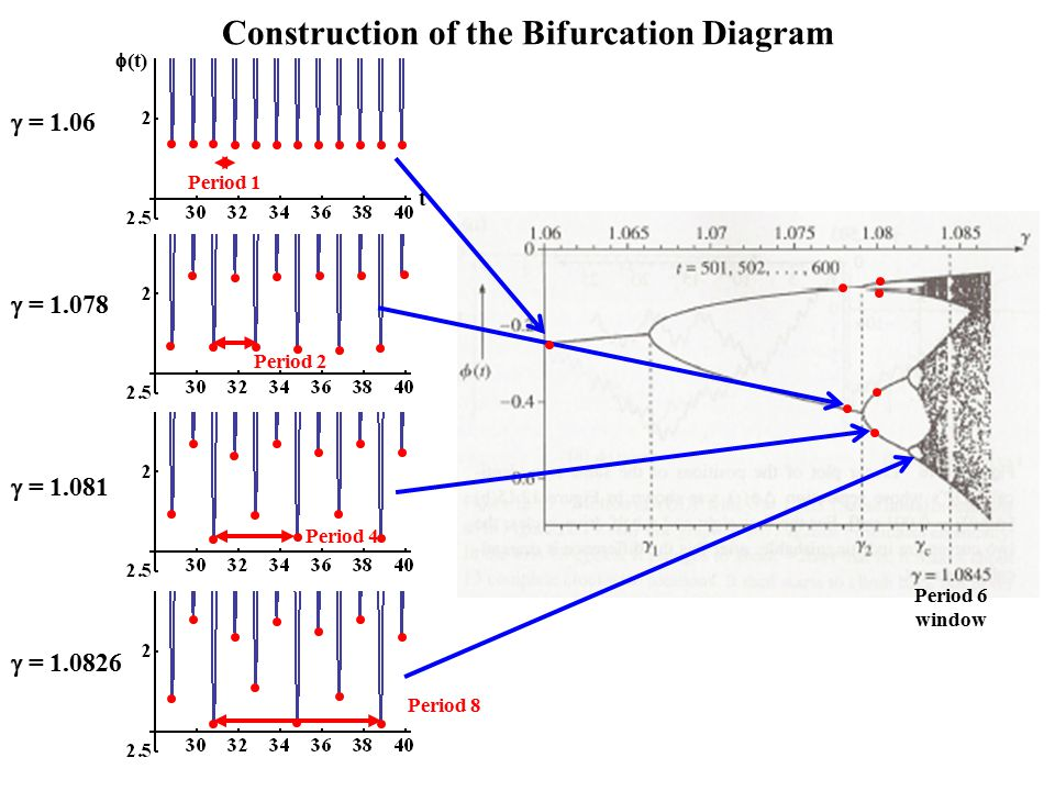 Period 1 Period 2 Period 4 Period 8  (t) t  = 1.06  = 1.078  = 1.081  = 1.0826 Construction of the Bifurcation Diagram Period 6 window