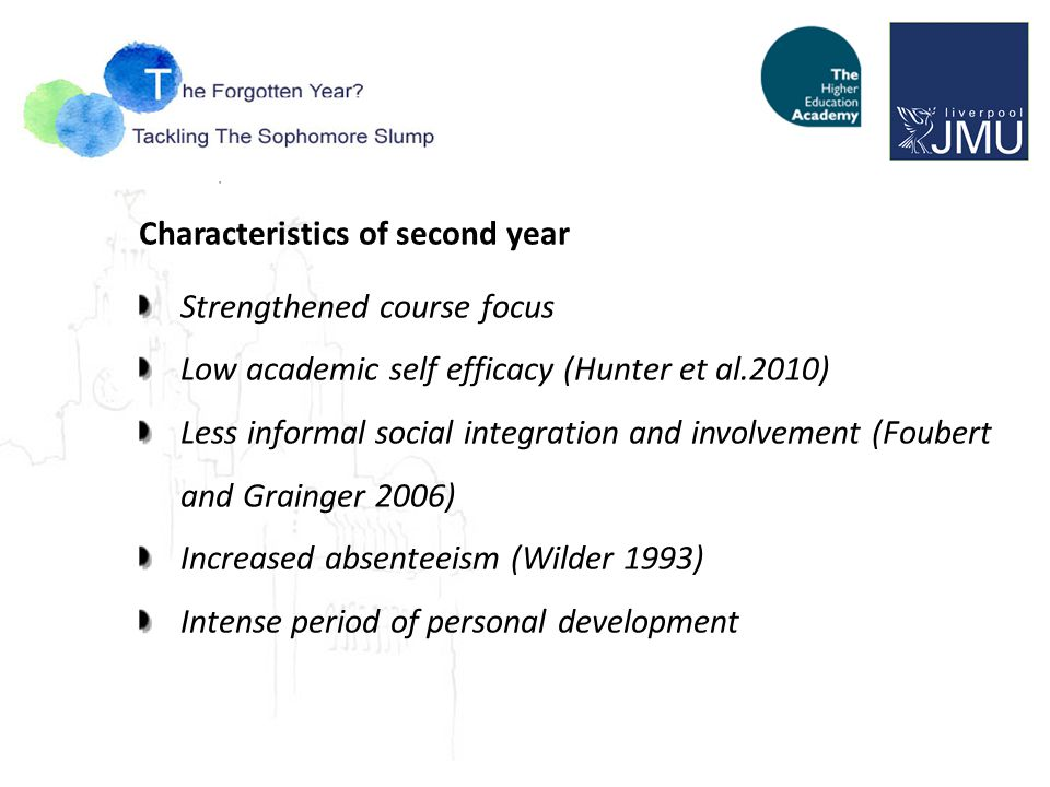 Characteristics of second year Strengthened course focus Low academic self efficacy (Hunter et al.2010) Less informal social integration and involvement (Foubert and Grainger 2006) Increased absenteeism (Wilder 1993) Intense period of personal development