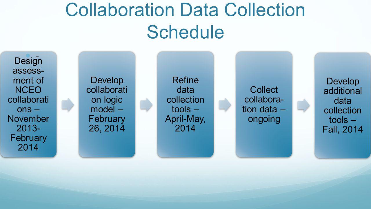 Design assess- ment of NCEO collaborati ons – November 2013- February 2014 Develop collaborati on logic model – February 26, 2014 Refine data collecti