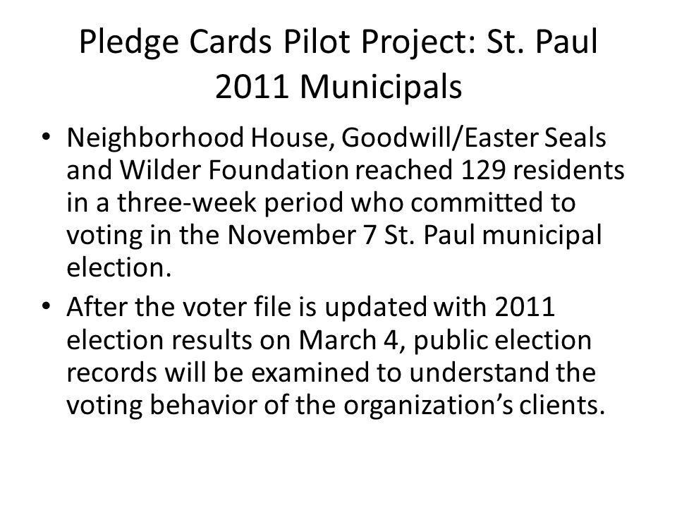 Pledge Cards Pilot Project: St.