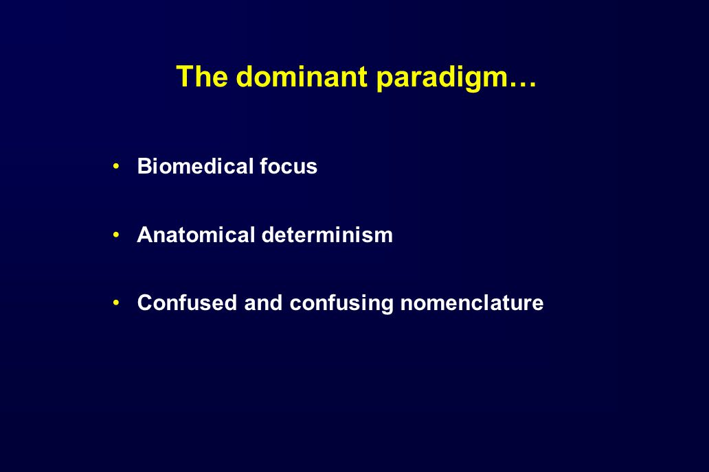 The dominant paradigm… Biomedical focus Anatomical determinism Confused and confusing nomenclature