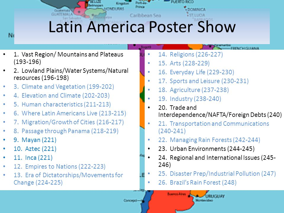 Latin America Poster Show 1. Vast Region/ Mountains and Plateaus (193-196) 2. Lowland Plains/Water Systems/Natural resources (196-198) 3. Climate and