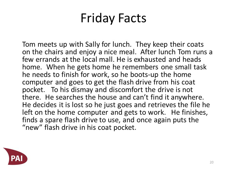 Friday Facts Tom meets up with Sally for lunch.