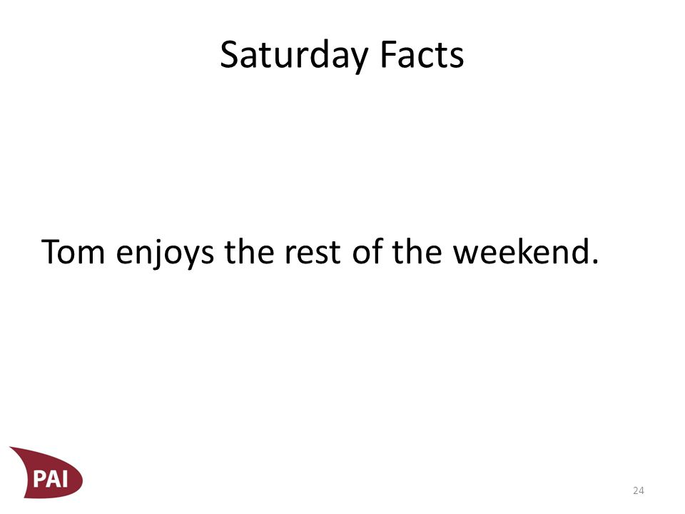 Saturday Facts Tom enjoys the rest of the weekend. 24