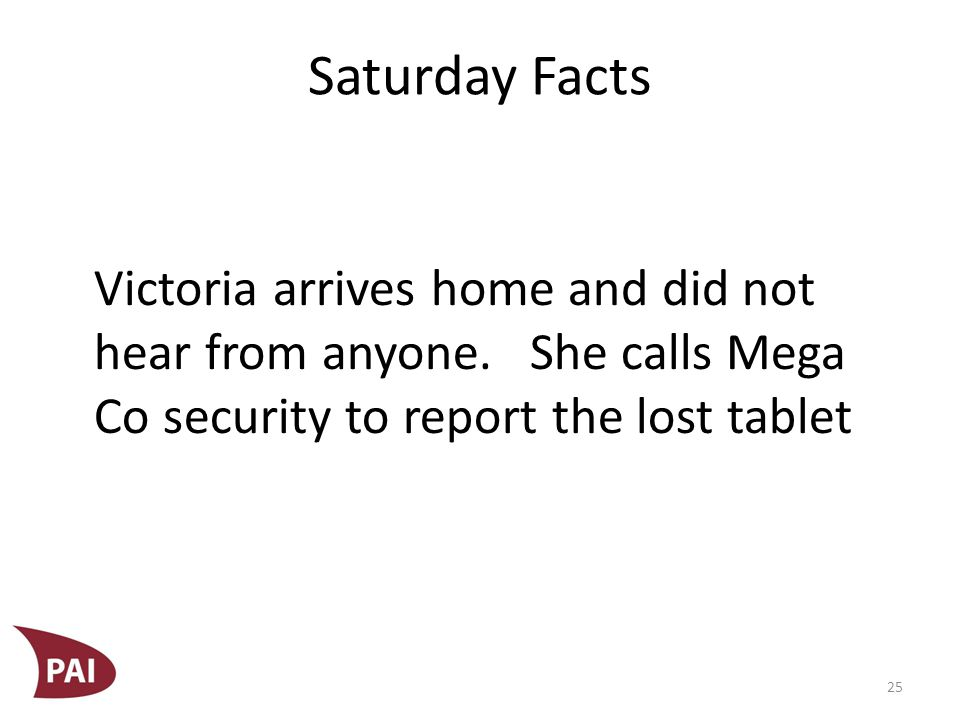 Saturday Facts Susan, the Mega Co security person on duty, is having a bad day.