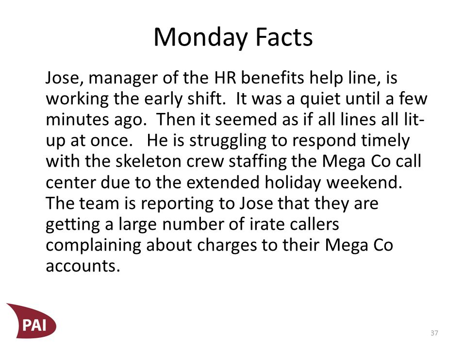 Monday Facts He is doing the best he can; he is fighting a losing battle.