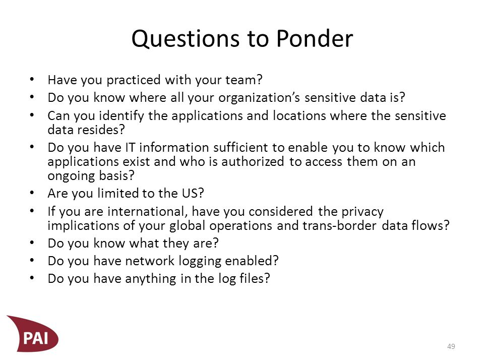 Questions to Ponder Are data backup processes, procedures, and practices well understood and managed.