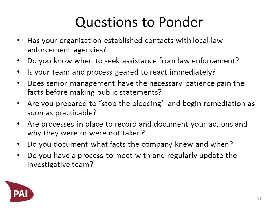Questions to Ponder Are you certain you are willing to wait for real numbers before issuing statements using preliminary and unsubstantiated numbers.