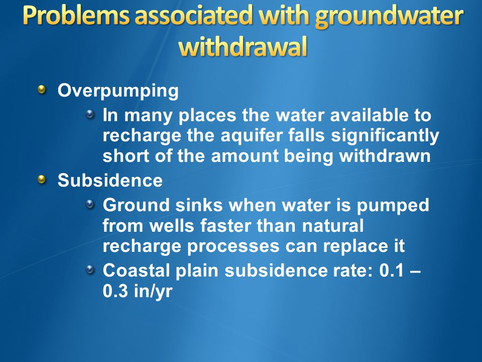 Overpumping In many places the water available to recharge the aquifer falls significantly short of the amount being withdrawn Subsidence Ground sinks when water is pumped from wells faster than natural recharge processes can replace it Coastal plain subsidence rate: 0.1 – 0.3 in/yr