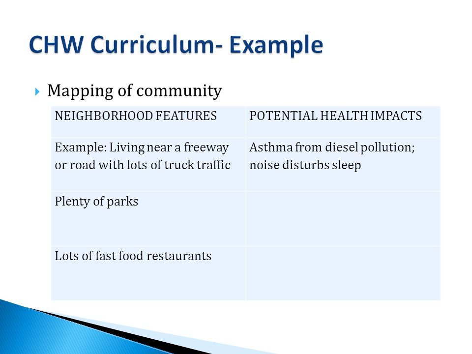  Mapping of community NEIGHBORHOOD FEATURESPOTENTIAL HEALTH IMPACTS Example: Living near a freeway or road with lots of truck traffic Asthma from diesel pollution; noise disturbs sleep Plenty of parks Lots of fast food restaurants