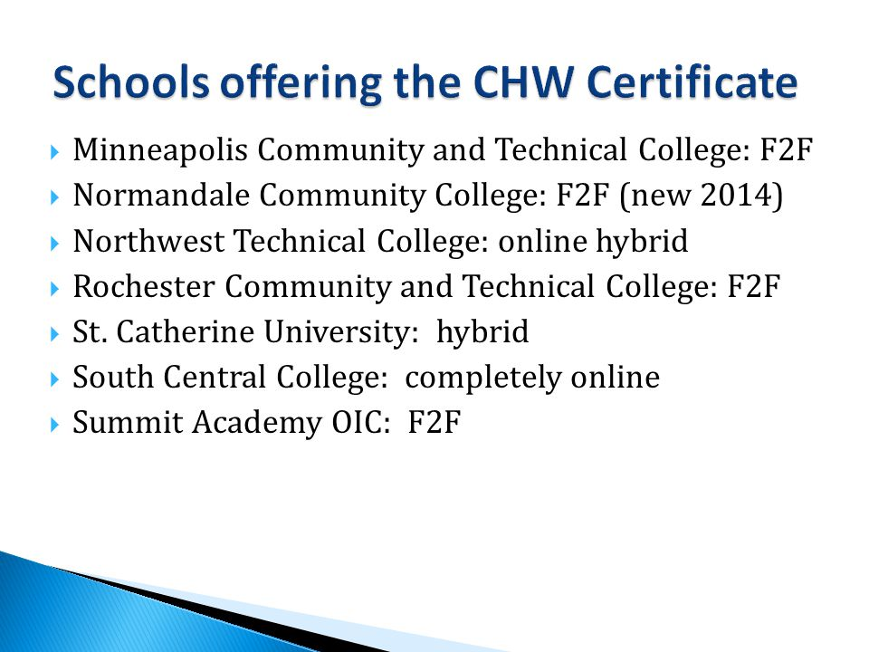 Minneapolis Community and Technical College: F2F  Normandale Community College: F2F (new 2014)  Northwest Technical College: online hybrid  Rochester Community and Technical College: F2F  St.