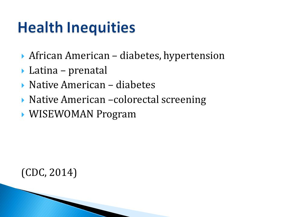  African American – diabetes, hypertension  Latina – prenatal  Native American – diabetes  Native American –colorectal screening  WISEWOMAN Program (CDC, 2014)