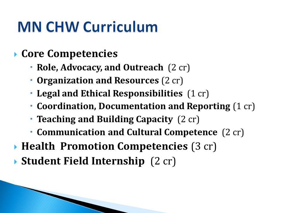  Core Competencies  Role, Advocacy, and Outreach (2 cr)  Organization and Resources (2 cr)  Legal and Ethical Responsibilities (1 cr)  Coordination, Documentation and Reporting (1 cr)  Teaching and Building Capacity (2 cr)  Communication and Cultural Competence (2 cr)  Health Promotion Competencies (3 cr)  Student Field Internship (2 cr)