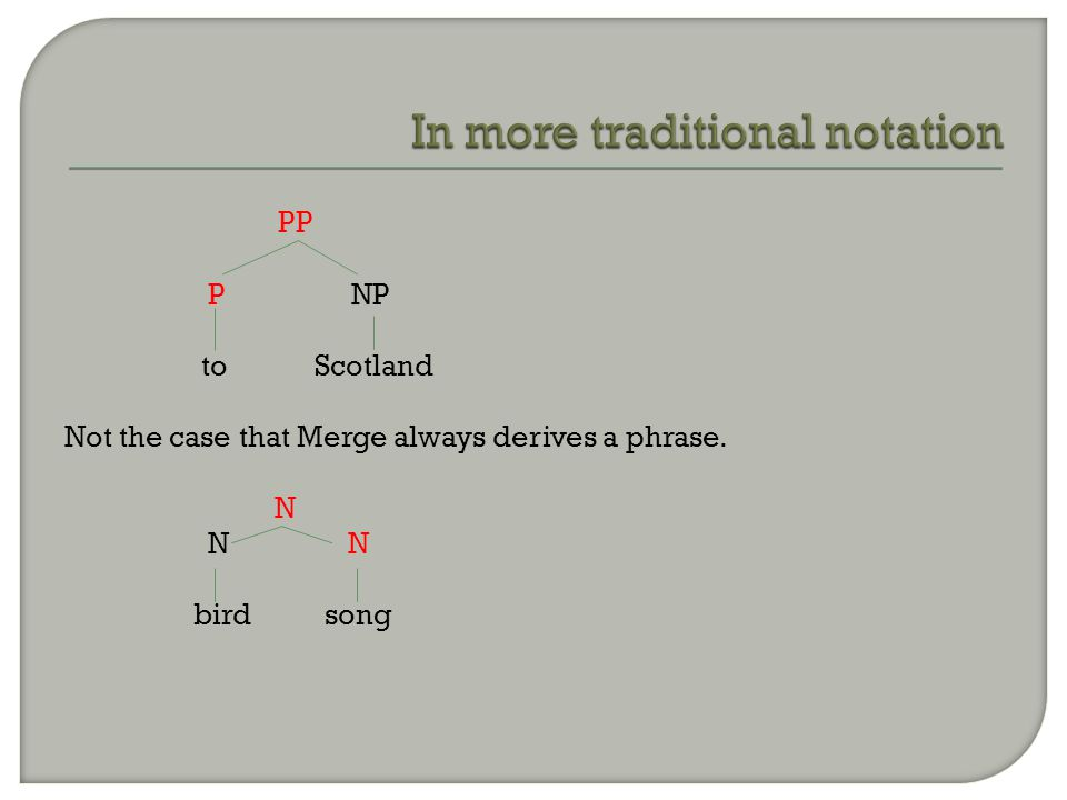 PP P NP to Scotland Not the case that Merge always derives a phrase. N N N bird song