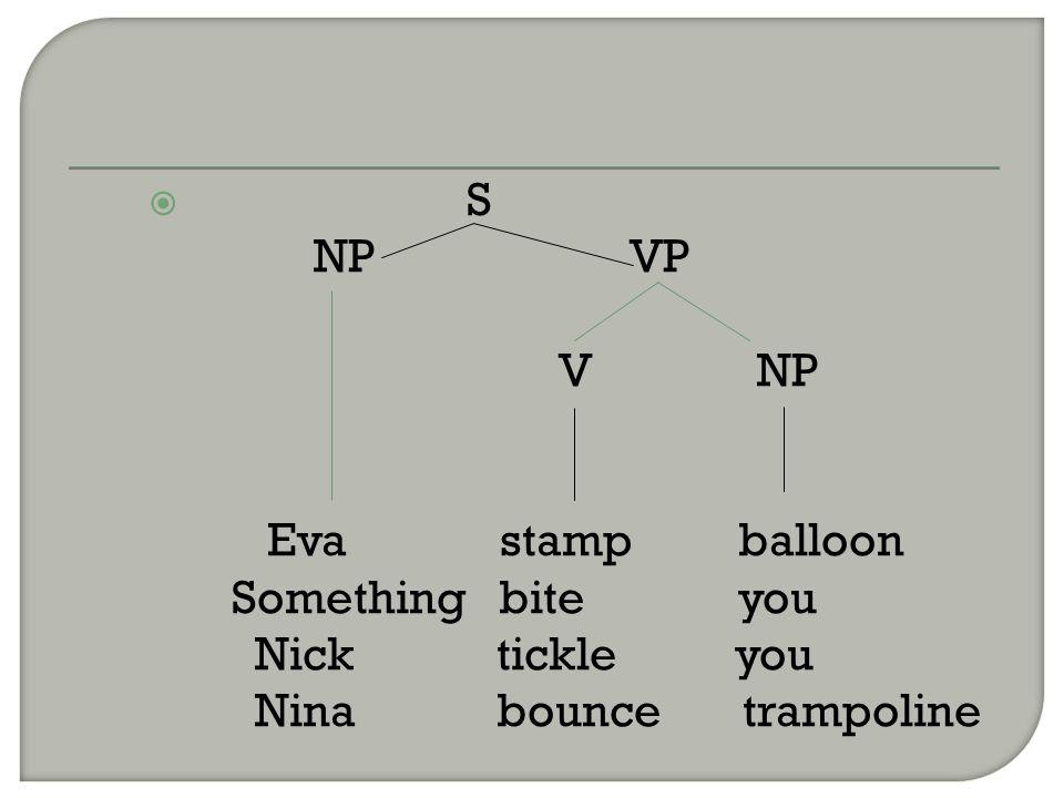  S NP VP V NP Eva stamp balloon Something bite you Nick tickle you Nina bounce trampoline
