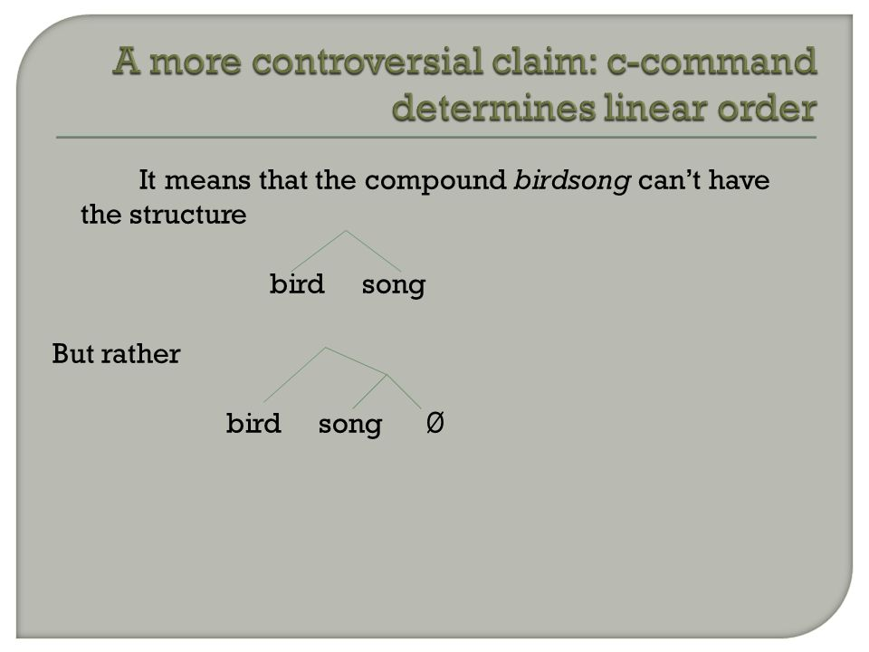 It means that the compound birdsong can't have the structure bird song But rather bird song Ø