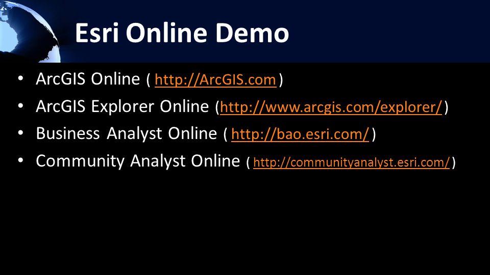 Esri Online Demo ArcGIS Online ( http://ArcGIS.com )http://ArcGIS.com ArcGIS Explorer Online (http://www.arcgis.com/explorer/ )http://www.arcgis.com/explorer/ Business Analyst Online ( http://bao.esri.com/ )http://bao.esri.com/ Community Analyst Online ( http://communityanalyst.esri.com/ )http://communityanalyst.esri.com/