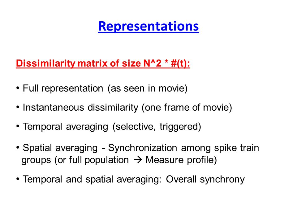 Representations Dissimilarity matrix of size N^2 * #(t): Full representation (as seen in movie) Instantaneous dissimilarity (one frame of movie) Temporal averaging (selective, triggered) Spatial averaging - Synchronization among spike train groups (or full population  Measure profile) Temporal and spatial averaging: Overall synchrony