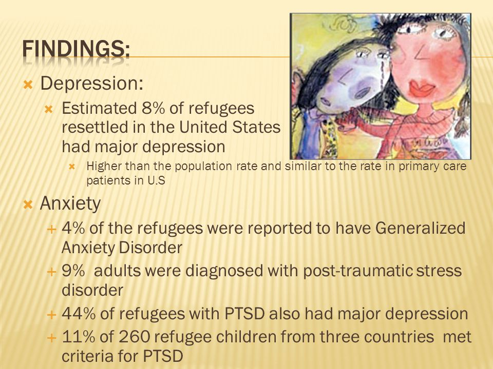  Depression:  Estimated 8% of refugees resettled in the United States had major depression  Higher than the population rate and similar to the rate in primary care patients in U.S  Anxiety  4% of the refugees were reported to have Generalized Anxiety Disorder  9% adults were diagnosed with post-traumatic stress disorder  44% of refugees with PTSD also had major depression  11% of 260 refugee children from three countries met criteria for PTSD