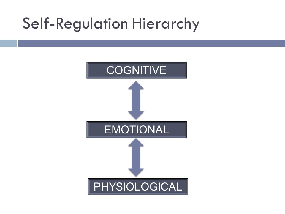 Self-Regulation Hierarchy PHYSIOLOGICAL EMOTIONAL COGNITIVE