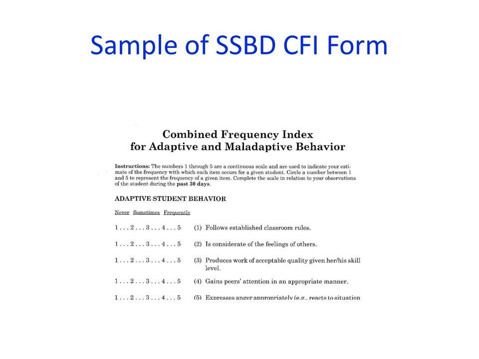 Sample of SSBD CFI Form