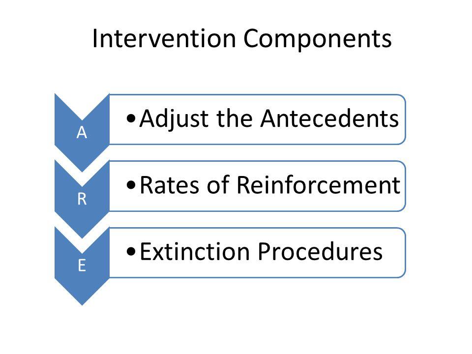 Intervention Components A Adjust the Antecedents R Rates of Reinforcement E Extinction Procedures