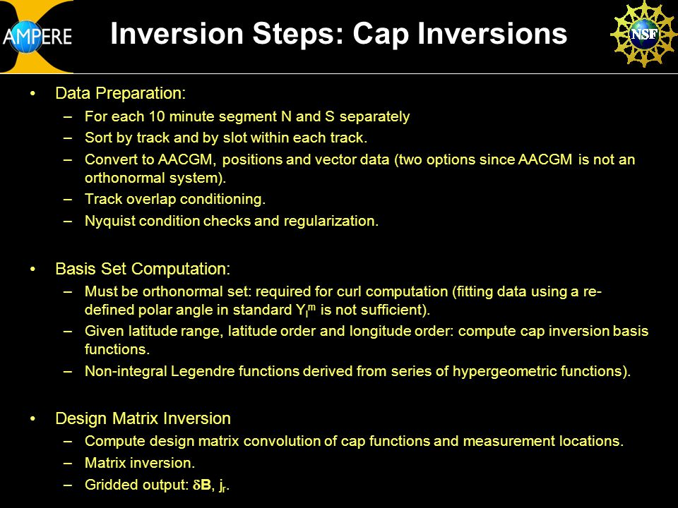 JHU/APL Confidential/Proprietary24 May 2010AMPERE ORR SDC Status Slide 20 Inversion Steps: Cap Inversions Data Preparation: –For each 10 minute segment N and S separately –Sort by track and by slot within each track.