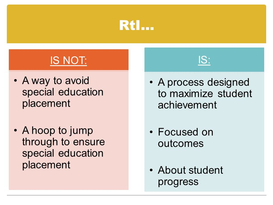 RtI… IS NOT: A way to avoid special education placement A hoop to jump through to ensure special education placement IS: A process designed to maximiz