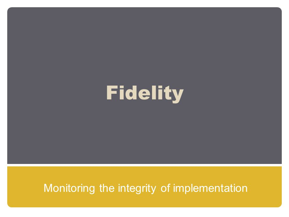 Fidelity Monitoring the integrity of implementation