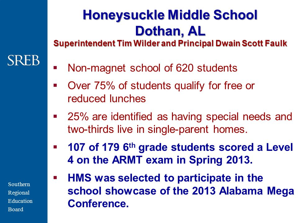Southern Regional Education Board Honeysuckle Middle School Dothan, AL Superintendent Tim Wilder and Principal Dwain Scott Faulk  Non-magnet school of 620 students  Over 75% of students qualify for free or reduced lunches  25% are identified as having special needs and two-thirds live in single-parent homes.